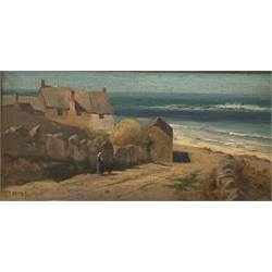 Fred Milner (British 1863-1939): 'At Sennen Cove, Cornwall', oil on panel signed, titled on artists label verso with sketch 15cm x 32cm
