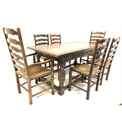 17th century style oak refectory table, rectangular top with lunette carved panels, above frieze carved with interlaced trailing foliate, baluster carved and turned block supports united by stretchers, (182cm x 84cm, H77cm) together with set six (4+2) elm and beech ladder back dining chairs with rush seats, (W59cm)