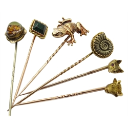 Six stick pins, reverse painted fox, ammonite, bloodstone, frog set with diamond eyes, fox and bull heads terminals