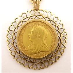 Queen Victoria 1896 gold full sovereign, in 9ct gold pendant mount on a chain, total weight 27.8 grams