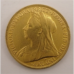 Queen Victoria 1897 gold full sovereign, Melbourne mint mark