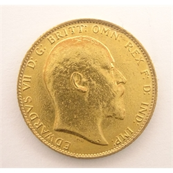 King Edward VII 1909 gold full sovereign