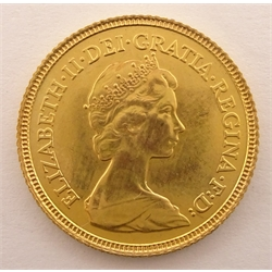 Queen Elizabeth II 1982 gold half sovereign