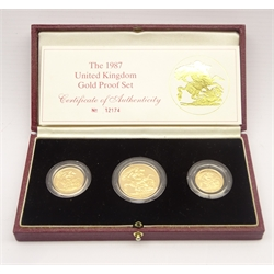 United Kingdom 1987 gold proof coin collection, two pounds, sovereign and half sovereign, cased with certificate