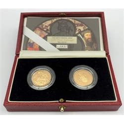 United Kingdom 'Gold Proof Sovereign two-coin set', Queen Elizabeth II 2000 gold full sovereign and Bailiwick of Jersey 2000 gold full sovereign, both in capsules in box of issue, with certificate