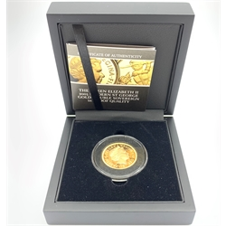 Queen Elizabeth II 2005 gold proof double sovereign, cased with certificate