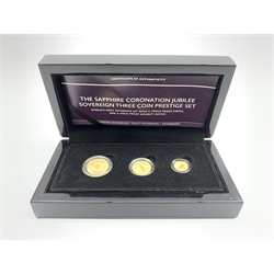 Queen Elizabeth II Gibraltar 2018 'The Sapphire Coronation Jubilee Sovereign Three Coin Prestige Set', full, half and quarter sovereigns,  cased with certificate