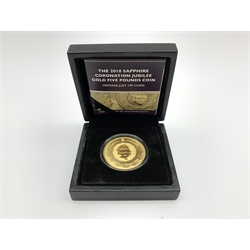 Queen Elizabeth II Gibraltar 'The 2018 Sapphire Coronation Jubilee Gold Five Pounds Coin', cased with certificate