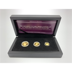 Queen Elizabeth II Alderney 'The 2019 Queen Victoria 200th Anniversary 24 carat gold prestige sovereign set', full, half and quarter sovereigns, cased with certificate