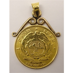 South Africa 1898 gold one pond coin, on pendant mount, total weight 8.8 grams