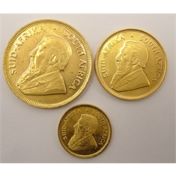 South Africa 1980 1/2 of an ounce, 1/4 of an ounce and 1/10 of an ounce gold Krugerrand coins