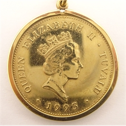 Queen Elizabeth II Tuvalu 1993 one hundred dollars gold coin, in 9ct gold mount on a chain stamped '375', total weight 12.9 grams