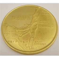 Israel 1967 'Moshe Dayan' gold medal, to commemorate the six day war, .900 gold, 10.55 grams