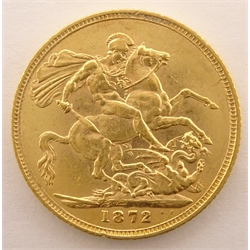 Queen Victoria 1872 gold full sovereign