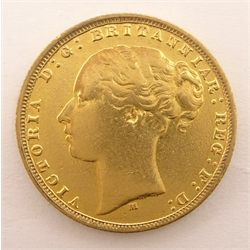 Queen Victoria 1877 gold full sovereign, Melbourne mint mark