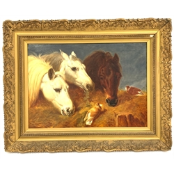 After John Frederick Herring Snr (British 1795-1865): Horses Feeding with Two Ornamental Pigeons at a Manger, oil on canvas 41cm x 56cm