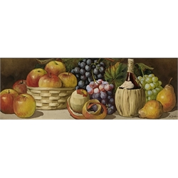 Arthur Dudley (AKA Giovanni Barbaro 1864-1915): Still Life of Fruit, pair watercolour's signed 26cm x 77cm (2)