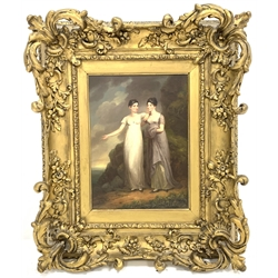 English School (19th century): Georgian Ladies in a Rural Landscape, oil on panel unsigned 43.5cm x 32cm in ornate gilt frame