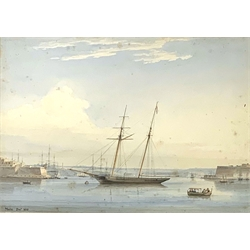 * Circle of Anton Schranz (German 1769-1839): A Schooner Moored in the Grand Harbour, Valetta, watercolour inscribed Malta Decr 1838, 28cm x 40cm  Provenance: from the private family collection at Harewood House - <a href='https://www.dugglebystephenson.com/auctions/harewood-house.aspx'>Read more...</a>
