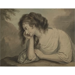 * After Angelica Kauffmann (Swiss 1741-1807): A Lady Musing, pencil and watercolour with signature 'Angelica Kauffmann' 20cm x 28cm  Provenance: from the private family collection at Harewood House - <a href='https://www.dugglebystephenson.com/auctions/harewood-house.aspx'>Read more...</a>