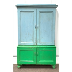 Large 19th century painted pine kitchen cupboard, the top with two panelled doors enclosing eight adjustable shelves, two panelled doors under enclosing adjustable shelves and three drawers, raised on turned supports, W140cm, H232cm, D51cm