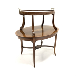 Edwardian mahogany oval two tier etergere, top with removable glazed tray over cross banded and shell inlaid tier, all raised on square splayed supports, W88cm