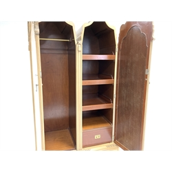 Early 20th century Queen Anne style bleached walnut wardrobe, with two arched panelled doors enclosing hanging rail and and shelved, two drawers under, raised on carved ogee bracket feet, W119cm, H195cm, D66cm