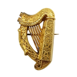 Victorian Irish harp brooch by Hopkins & Hopkins, Dublin 1895, in original velvet lined leather box