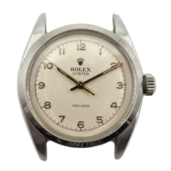 Rolex Oyster Precision gentleman's stainless steel manual wind wristwatch c.1957/8, model No.6422, serial No.272518, on leather strap