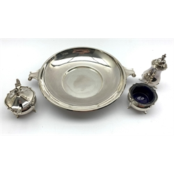 Silver circular shallow bowl with scroll handles D20cm Sheffield 1951 Maker Manoah Rhodes & Sons 13.3oz and a silver three piece circular condiment set Sheffield 1946