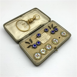 Five 19th Century French silver gilt and enamel buttons marked 'A P & Cie, Paris', six smaller enamel buttons and a gilt quizzing glass