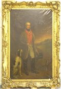 George Dodgson Tomlinson (1809 - 1884) Full length life size oil portrait of John Starkey in hunting dress holding a riding crop and a top hat, with a gun dog at his feet, oil on canvas, signed and dated 1850 237 x 144cms in ornate gilt frame