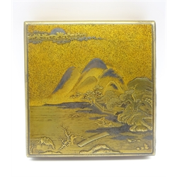 Japanese lacquer box, Edo period (18th Century) decorated in gold and silver with a mountainous landscape, a horse grazing in the foreground, the interior of the cover in gold, silver and black with a group of dancers 17 x 16.5 cms-  Soame Jenyns Collection