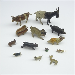 Cold painted bronze animals including a Pug, Squirrel, Goat, Cow etc and other miniature animals (13) large goat H6cm, L6cm