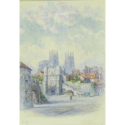 George Fall (British 1845-1925): 'Bootham Bar Minster York', watercolour signed and titled 25cm x 18cm