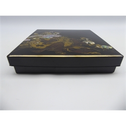 Japanese Lacquer Writing box, Edo period, decorated with Hotei surrounded by playing children in gold, brown and mother of pearl, the interior with birds among blossoming trees, circular copper water dropper and gold rimmed inkslate 22 x 21cms-  Soame Jenyns Collection