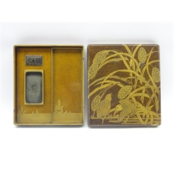 Another Japanese Lacquer Writing box, Edo period, decorated with quail among millet on a nashiji ground, the interior of the cover with pavilions in a mountainous landscape, gilt copper rectangular water dropper and gold rimmed inkslate 23 x 20.5 cms-  Soame Jenyns Collection