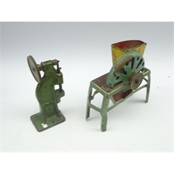 Tin plate model steam engine, H22cm Marklin tinplate hopper and three other items