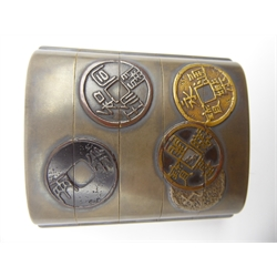 Japanese Four-Case Lacquer Inro sealed Kan (Ritsuo School), Edo period (18th Century), decorated in gold and brown lacquer with imitation Chinese and Japanese coins on a silver lacquer ground 8.5 x 7 cms-  Soame Jenyns Collection