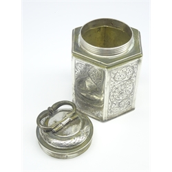 Augsburg silver hexagonal canister engraved with panels of buildings on a scrolled foliate ground, with screw off cover with loop handle, circa 1690 H 12cms