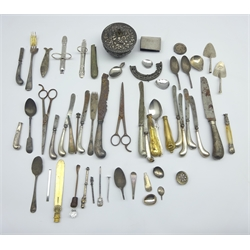 Silver matchbox holder, various silver handled knives and other items of silver and plate
