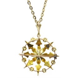 Edwardian peridot and seed pearl gold (tested 15 carat) pendant/brooch on gold chain necklace stamped 9ct