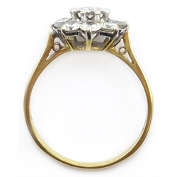 18ct gold diamond cluster ring hallmarked