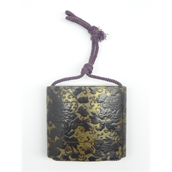 Japanese lacquer three-case Inro with peony and scrolling tendrils on a black ground 6cms Sq-  Soame Jenyns Collection