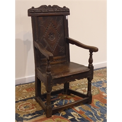 17th century elm and oak Wainscot armchair, lozenge carved panelled back, plank seat, H107cm