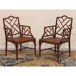 Pair Chinese Chippendale style simulated bamboo armchairs, stained beech framed with dished seats