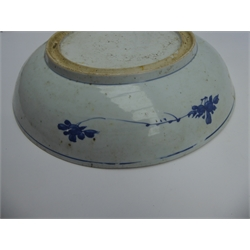 Chinese provincial circular shallow bowl with an all-over pattern of flowers and leaves in blue and white 35cms Diam