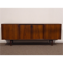 Henry Rosengren Hansen for Brande Mobelindustr - 1960s rosewood credenza sideboard, sliding doors enclosing drawers and adjustable shelves, retailed by 'Heals of London' with 'HEAL'S exclusive design' label, W210cm, H79cm, D52cm  CITES License has been applied for.