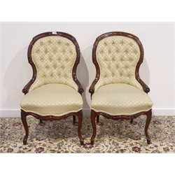 Pair Victorian walnut framed upholstered chairs, carved detail, cabriole supports