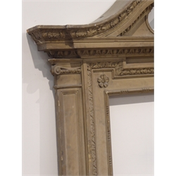 Early 19th century wood and gesso overmantle frame, swan neck pediment with shell and foliage moulding, egg and dart detail above aperture surrounded by acanthus leaf and flower head mouldings, in the manor of William Kent, 164cm x 174cm (overall), aperture - 89cm x 84cm